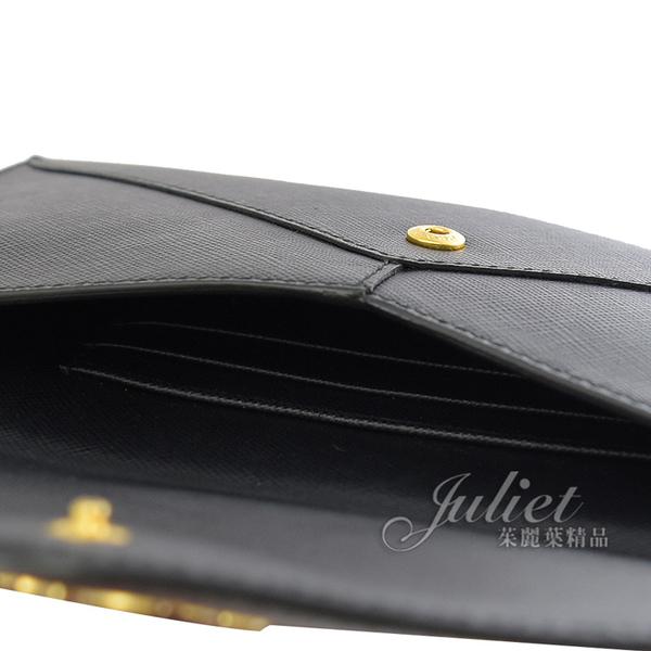 茱麗葉精品 二手精品 【9.5成新】PRADA 1M1175 SAFFIANO 浮雕LOGO 信封型長夾.黑