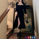 泡泡袖連身裙 復古超仙小性感內搭連身裙大碼臧肉減齡絲絨黑色裙胖妹妹開叉長裙 寶貝計畫