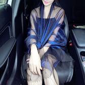 【新年鉅惠】新品歐根紗紗巾真絲絲巾長款防曬桑蠶絲圍巾晚禮服披肩兩用