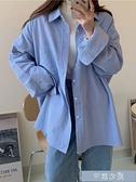 BF休閒燈芯絨襯衫外套女裝簡約韓版寬鬆中長款素色百搭襯衣開衫 快速出貨