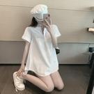 小個子顯高減齡短袖襯衣寬鬆顯瘦中長款襯衫裙女休閒白色上衣夏裝 智慧 618狂歡