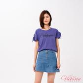 Victoria (活動綁帶)文字貼片寬鬆短袖T-女-V85437(領劵再折)
