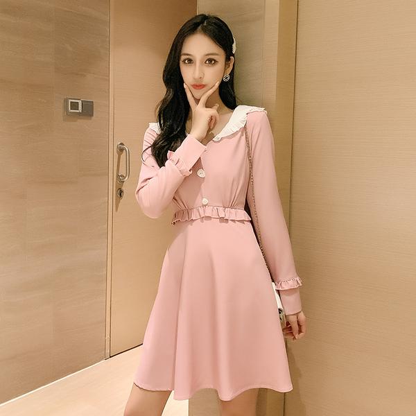 VK旗艦店 韓國風娃娃領顯瘦甜美荷葉邊長袖洋裝