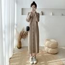 【GZ C1】針織洋裝 純色半高領寬鬆顯瘦 過膝打底針織連身裙