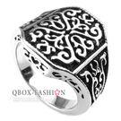 《 QBOX 》FASHION 飾品【R10025243】精緻個性宮廷華麗紋路鑄造鈦鋼戒指/戒環