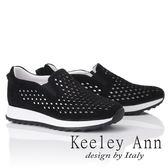 ★2019T春夏★Keeley Ann我的日常生活 全真皮素面水鑽網孔休閒鞋(黑色)-Ann系列