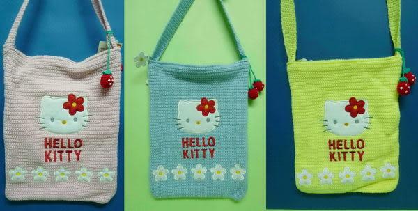 【震撼精品百貨】Hello Kitty 凱蒂貓~草莓小白花針織手提袋肩背帶『粉/藍/黃』(共兩款)