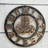 臥室創意掛鐘齒輪別墅工業風裝飾客廳靜音復古掛鐘 QQ12155『bad boy時尚』