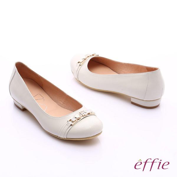 effie 繽紛舒適 全真皮金屬條帶低跟鞋  米