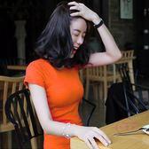 聖誕交換禮物 夏季短袖純色素面棉質修身t恤女短袖圓領緊身打底衫百搭上衣