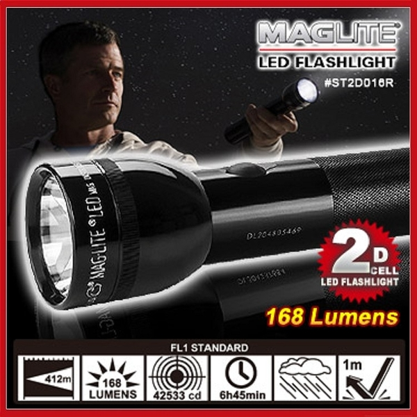MAG LITE 2D CELL LED手電筒-黑色168流明#ST2D016R【AH11006】99愛買小舖