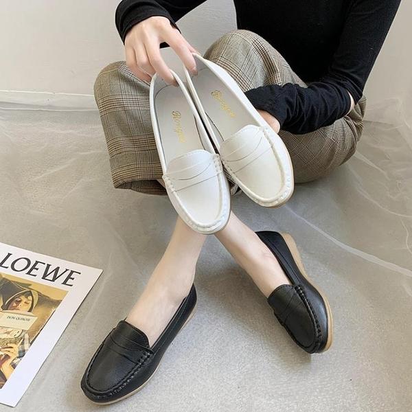 護士鞋護士鞋女舒適軟底2020秋季新款百搭平底豆豆鞋小白鞋一腳蹬工作鞋 JUST M
