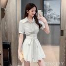 溫柔風套裝女夏2021新款時尚繫帶雪紡襯衫洋裝 短褲減齡兩件套 蘿莉新品