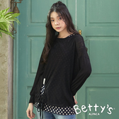 betty's貝蒂思 圓點無袖背心+圓孔綁帶長袖針織線衫(黑色)