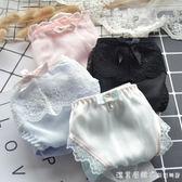 內褲出口日本女士牛奶絲內褲 日系刺繡花邊蕾絲女中腰三角褲 襠部全棉 漾美眉韓衣