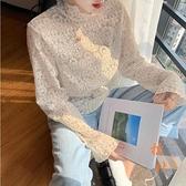 蕾絲打底衫女秋冬氣質鏤空小衫長袖立領網紗內搭上衣【橘社小鎮】