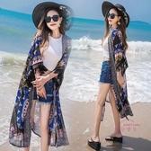 流蘇印花外搭大碼雪紡開衫女夏季寬鬆中長版沙灘防曬衣薄披肩外套 【快速出貨】