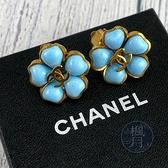 BRAND楓月 CHANEL香奈兒 97年/S 金色邊 土耳其藍色 花朵造型 夾式 耳環 A08765 VINTAGE