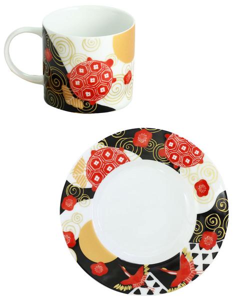 鶴與龜壽 美濃燒 磁器 咖啡杯組 茶杯組 馬克杯組 日本製造 150ml