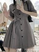 西裝連身裙大碼胖mm減齡顯瘦遮肉連身裙2021新款夏收腰氣質可甜可鹽西裝裙子 嬡孕哺 上新 新品