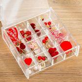 首飾盒 透明首飾盒飾品耳環耳釘亞克力飾品戒指有蓋防塵盒子格子收納盒小
