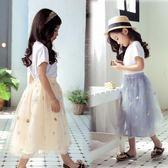 女童半身裙新款韓版中大女孩網紗公主蓬蓬裙兒童中長裙子 nm869【Pink中大尺碼】