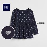 Gap女嬰幼童 純棉收腰長袖T恤 印花兒童上衣356457-心形圖案