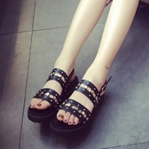 羅馬涼鞋-鉚釘歐美時尚鏤空雙帶女平底涼鞋2色73ey22【巴黎精品】