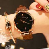 手錶女學生時尚潮流韓版簡約休閒大氣ulzzang水鑽皮帶防水石英錶「夢娜麗莎精品館」