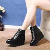 短靴 內增高圓頭鞋側拉鏈馬丁靴子《小師妹》sm332