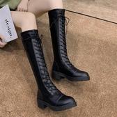 長靴女過膝秋冬新款英倫風百搭馬丁靴高筒騎士靴粗跟彈力女靴   蘑菇街小屋
