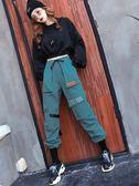 ins工裝褲女直筒寬鬆bf束腿顯瘦秋冬加絨闊腿褲嘻哈hiphop運動褲