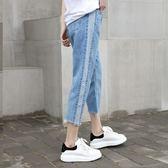 2018春夏新款寬鬆牛仔褲長女高腰學生闊腿褲顯瘦直筒小個子九分褲   初見居家