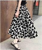+I518# 夏時尚顯瘦半身裙松緊腰裙子A字裙女人味愛心寬鬆長裙 &小咪的店&
