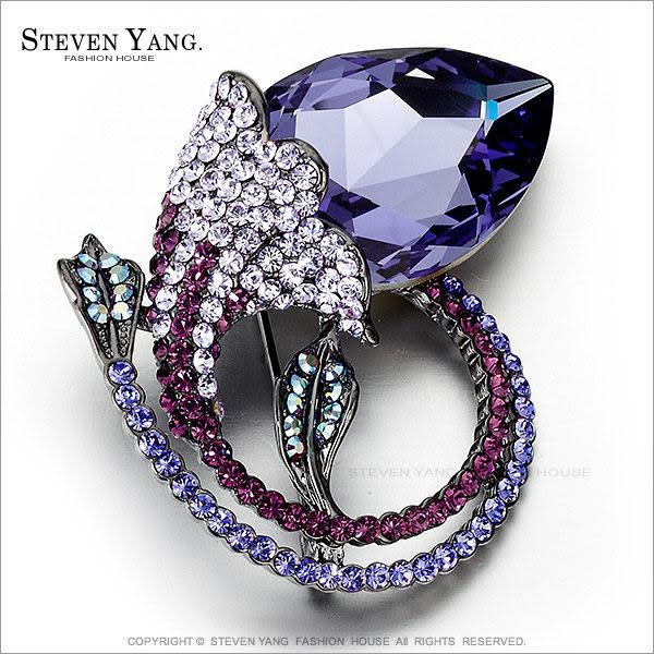 STEVEN YANG正白K飾「典雅紫羅蘭」水晶別針胸針 母親節禮物