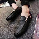 豆豆鞋夏季潮流男鞋子休閒男百搭一腳蹬懶人皮鞋潮鞋 法布蕾輕時尚