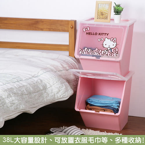 限定熱賣特惠-《樹德SHUTER X Hello Kitty 》天使KITTY可疊式收納箱38L(4入)