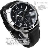 FOSSIL FS4812IE  公司貨 三眼錶 黑面 黑色真皮 皮革錶帶 45mm 男錶 時間玩家