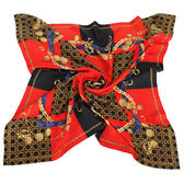 Christian Dior 時尚墜鍊滿版旗格(大)領巾-紅黑 179022