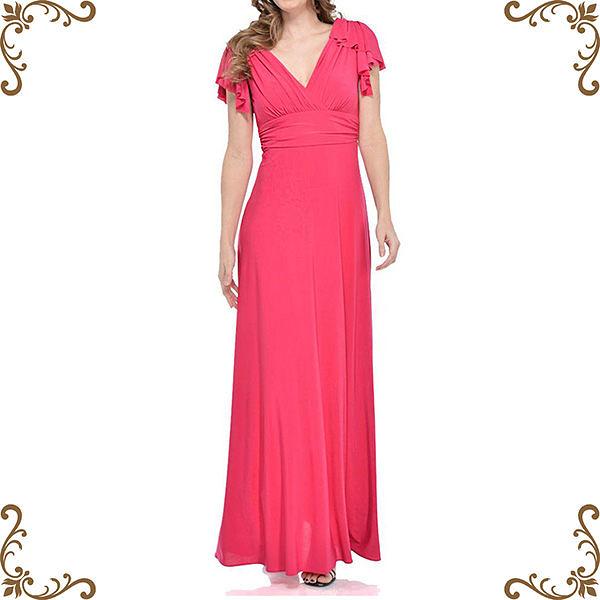 『摩達客』美國進口Landmark 深V桃紅浪漫荷葉袖紡紗長裙派對及地齊地長禮服/洋裝(含禮盒)(1831395026)