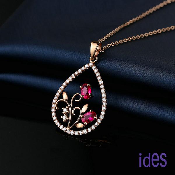 ides愛蒂思 歐美設計彩寶系列紅寶碧璽項鍊/心花
