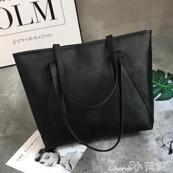托特包大包包女新款潮托特包學生簡約百搭大容量韓版休閒側背手提包 小天使