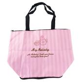 小禮堂 美樂蒂 折疊尼龍環保購物袋 保冷環保袋 保冷提袋 野餐袋 (粉 條紋) 4990270-12993