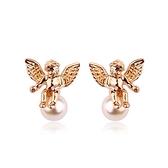 耳環 玫瑰金 925純銀鑲鑽-氣質小天使生日情人節禮物女飾品2色73gs142【時尚巴黎】