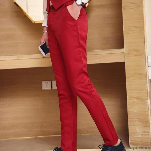 西裝褲 - 正韓男士修身型商務休閒褲上班正裝長褲韓版免燙黑色西裝褲【聖誕節快速出貨八折】