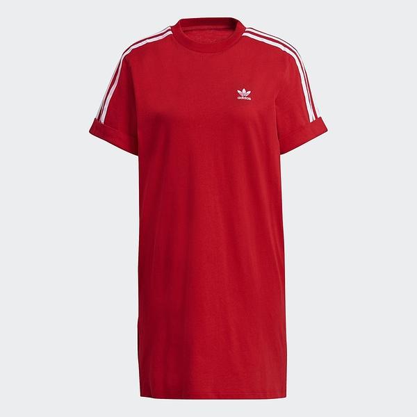 Adidas ORIGINALS ADICOLOR 女裝 短袖 洋裝 連身裙 捲袖 寬鬆 紅【運動世界】GN2778