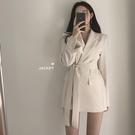 OL外套 鬼馬少女早秋韓國復古洋氣腰帶簡約百搭休閒優雅氣質 - 雙十一熱銷