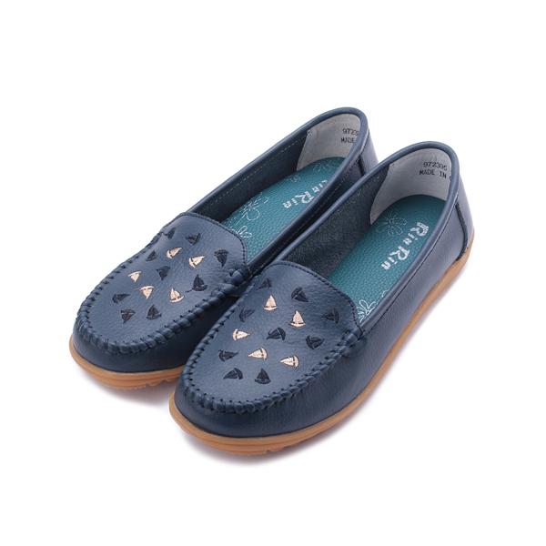RIN RIN 大尺碼牛皮帆船包鞋 藍 女鞋 鞋全家福