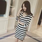 EASON SHOP(GU7999)韓版純色細橫條紋側邊開衩針織小V領長袖連身裙包臀洋裝女上衣服彈力貼身短裙黑色