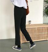 秋季韓版chic寬鬆百搭顯瘦高腰褲腳開叉直筒休閒黑色九分西裝褲女    電購3C